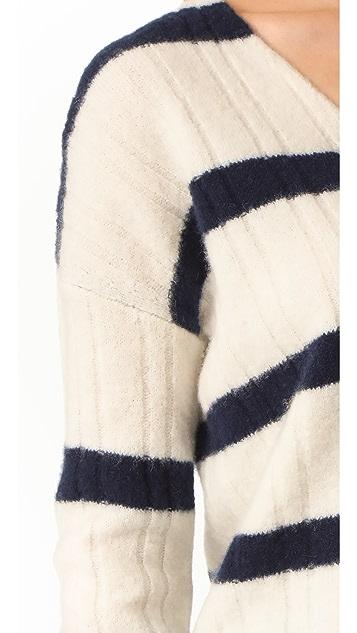 Jenni Kayne Stripe Cashmere V Neck Sweater