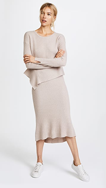 JENNY PARK Hellen Flared Ribbed Skirt