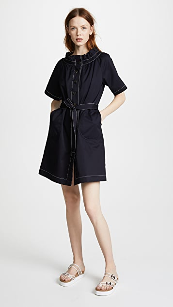 JENNY PARK Ruffled Neck Button Front Dress