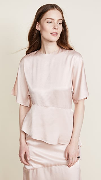 JENNY PARK Chavi Asymmetric Slit Sleeve Top - Blush