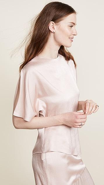 JENNY PARK Chavi Asymmetric Slit Sleeve Top