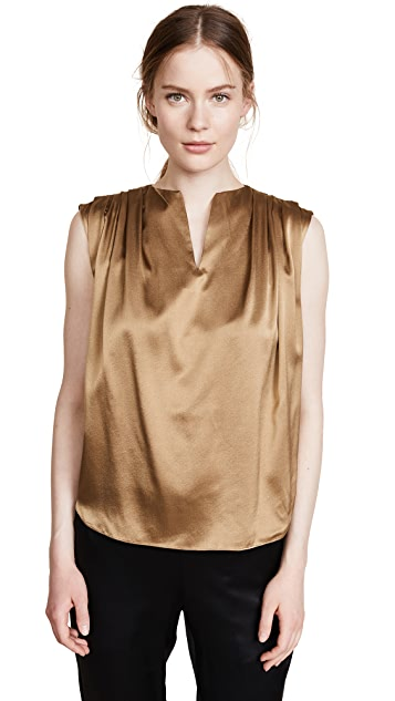 JENNY PARK Pleated Shoulder Sleeveless Top