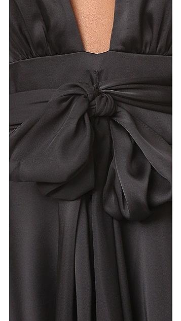 Jill Jill Stuart V Neck Ruffle Gown