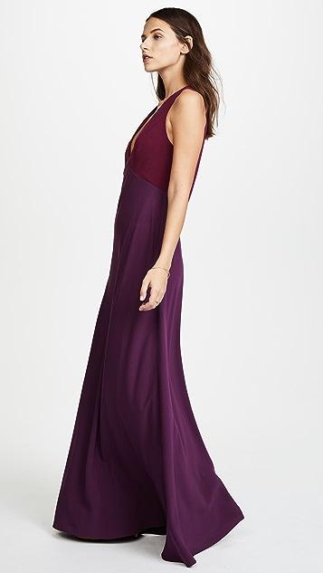 Jill Jill Stuart V Neck Two Tone Gown