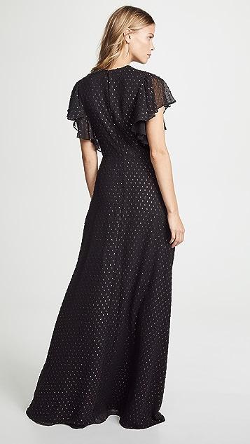 Jill Jill Stuart V Neck Metallic Gown