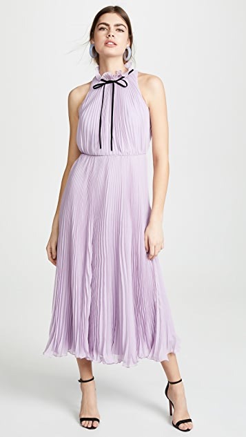 Jill Jill Stuart Pleated Tie Neck Gown