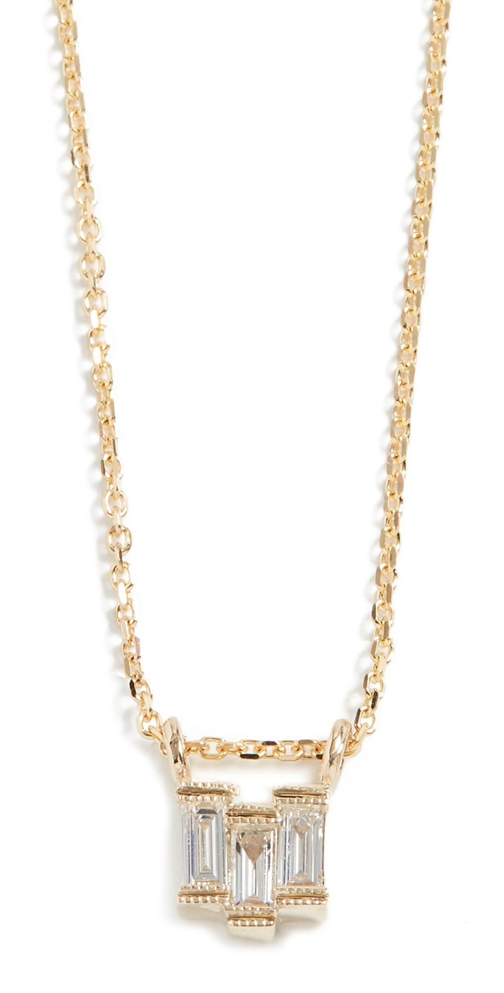14k Diamond Baguette Step Necklace