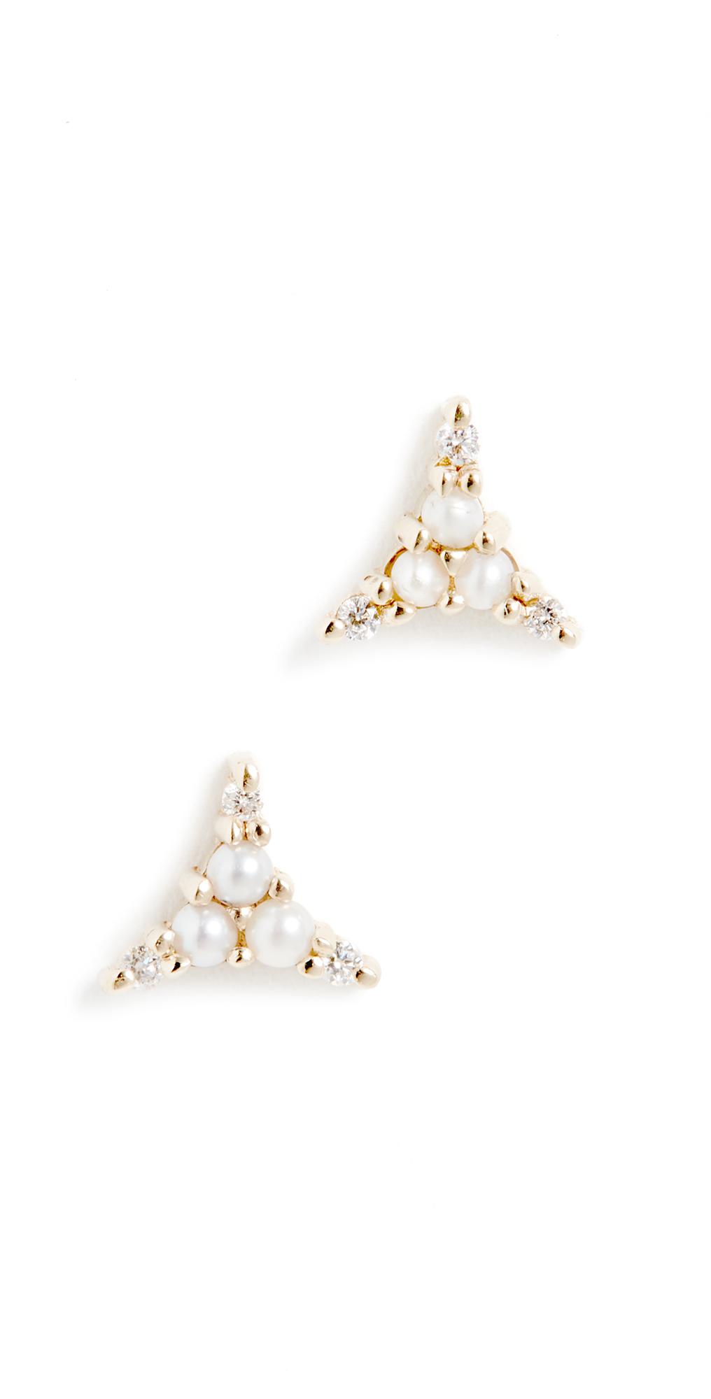 14k Pearl Diamond Triad Studs