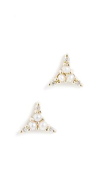 Jennie Kwon Designs 14k Pearl Diamond Triad Studs