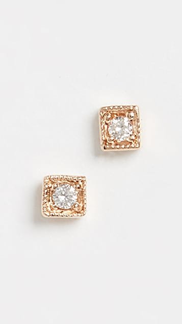 Jennie Kwon Designs 14k Diamond Mini Square Studs