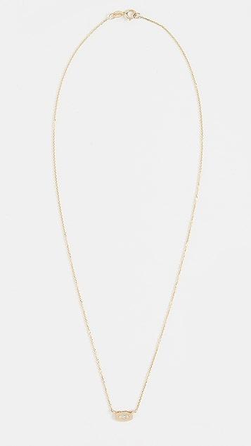 Jennie Kwon Designs 14k 椭圆形钻石镜面项链