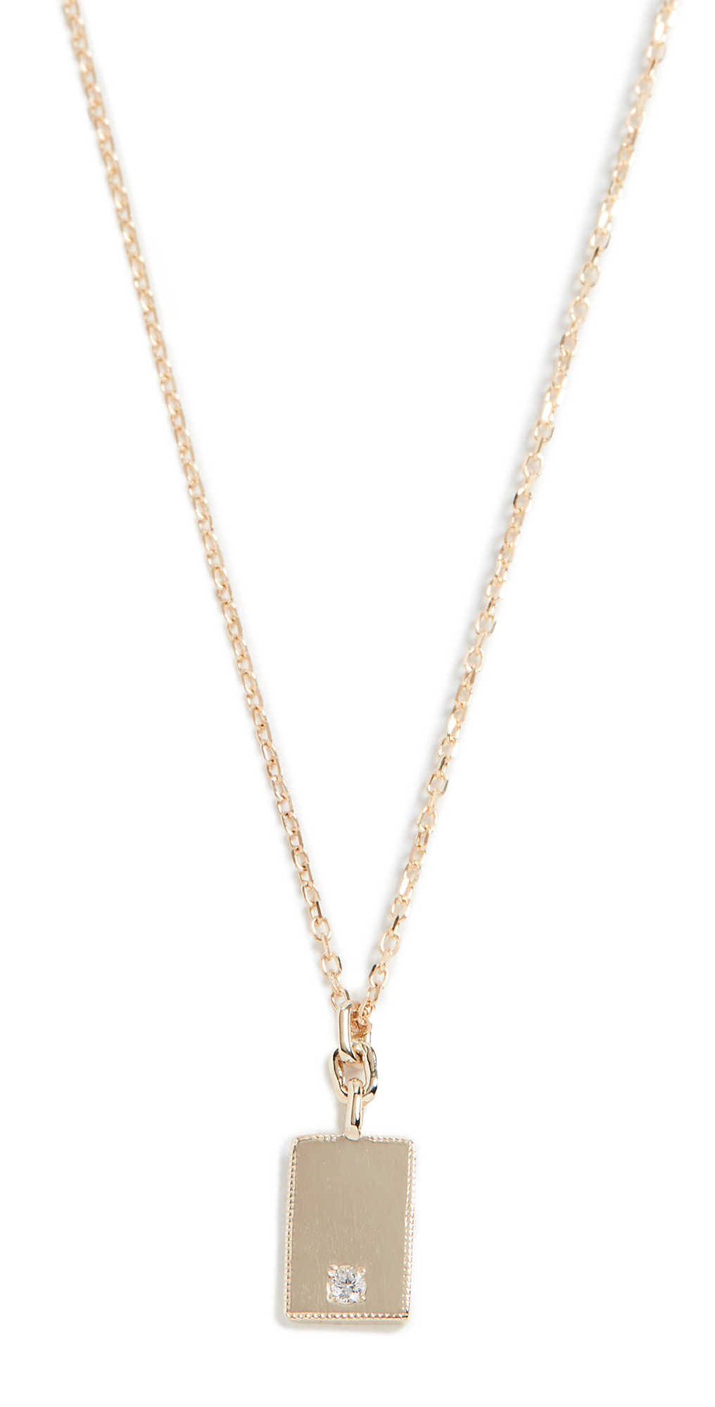 14k Rectangle Diamond Mirror Pendant Necklace