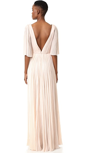 J. Mendel Deep V Neck Pleated Gown
