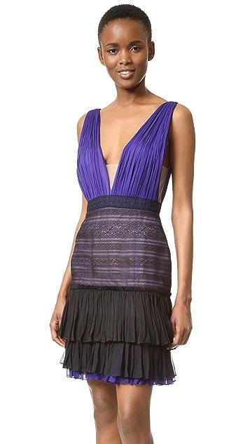 J. Mendel V Neck Dress with Lace Skirt