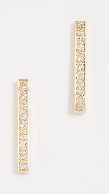 Jennifer Meyer Jewelry Серьги-гвоздики 18k Gold Bar Diamond