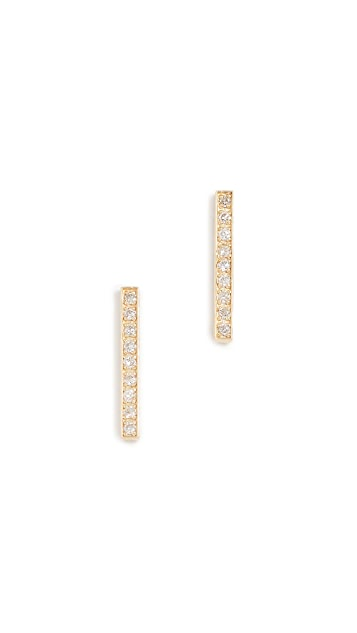 Jennifer Meyer Jewelry 18k Gold Bar Diamond Stud Earrings