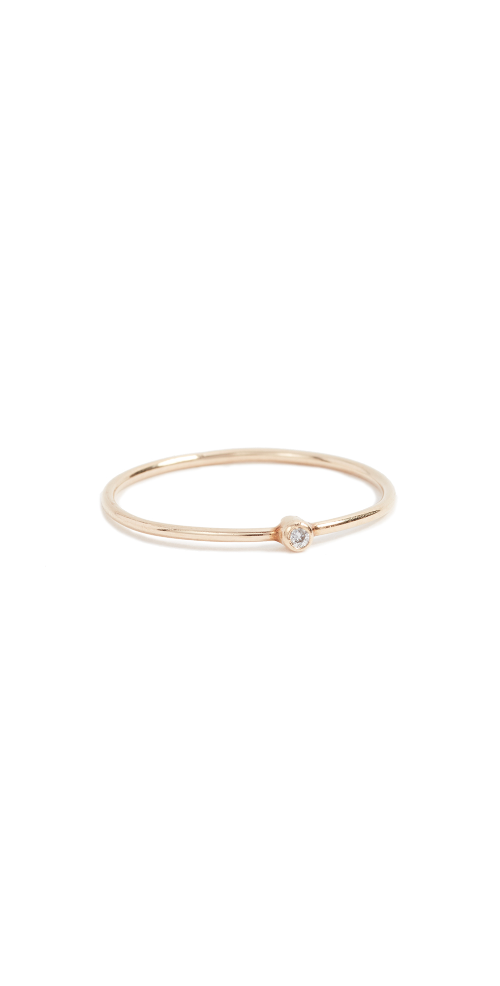 18k Gold Thin Diamond Ring