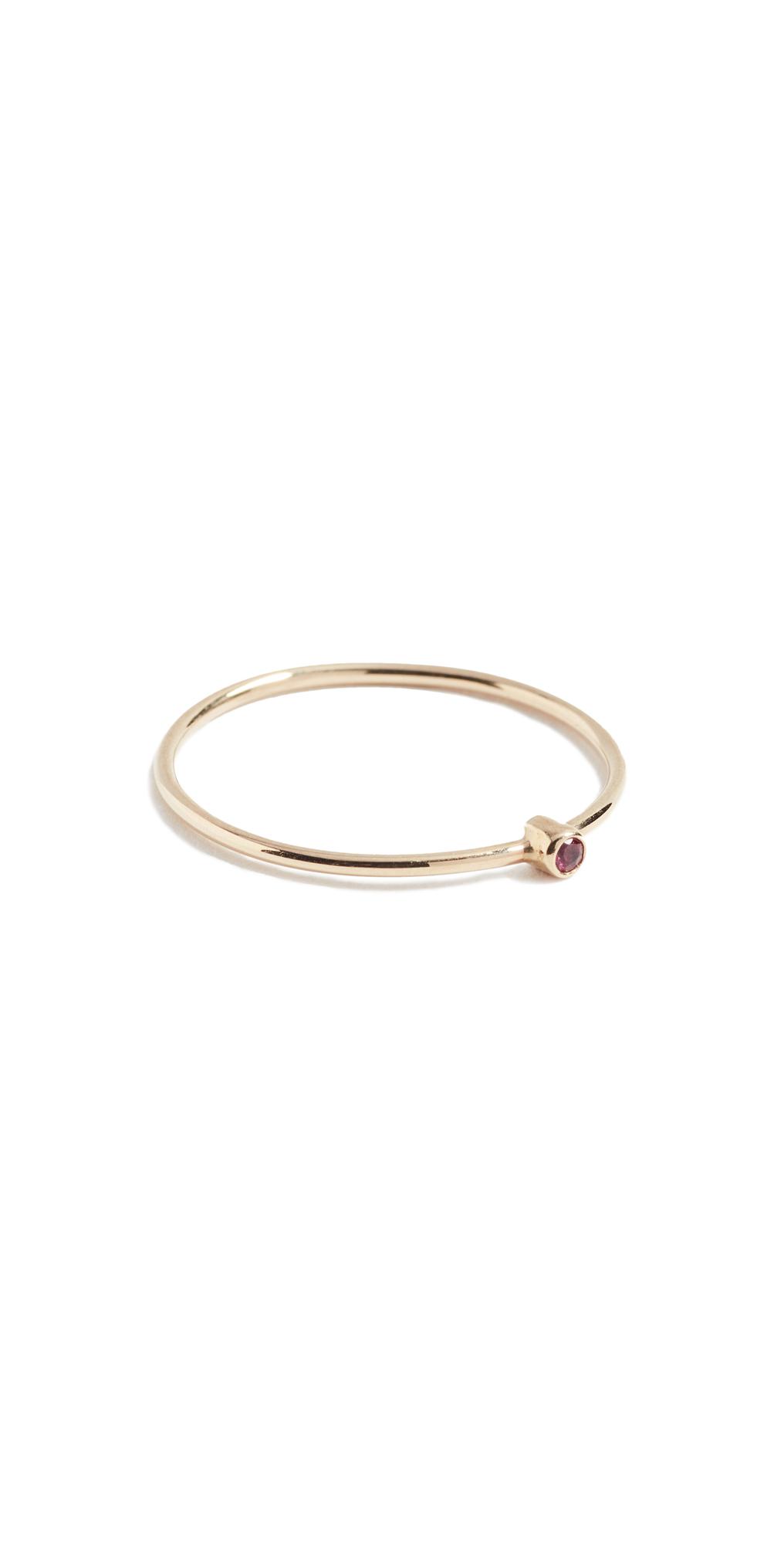 18k Gold Thin Ruby Ring