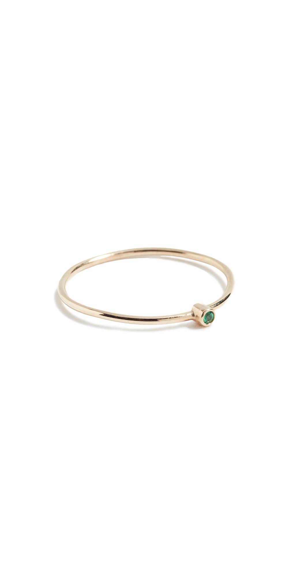 18k Gold Thin Emerald Ring
