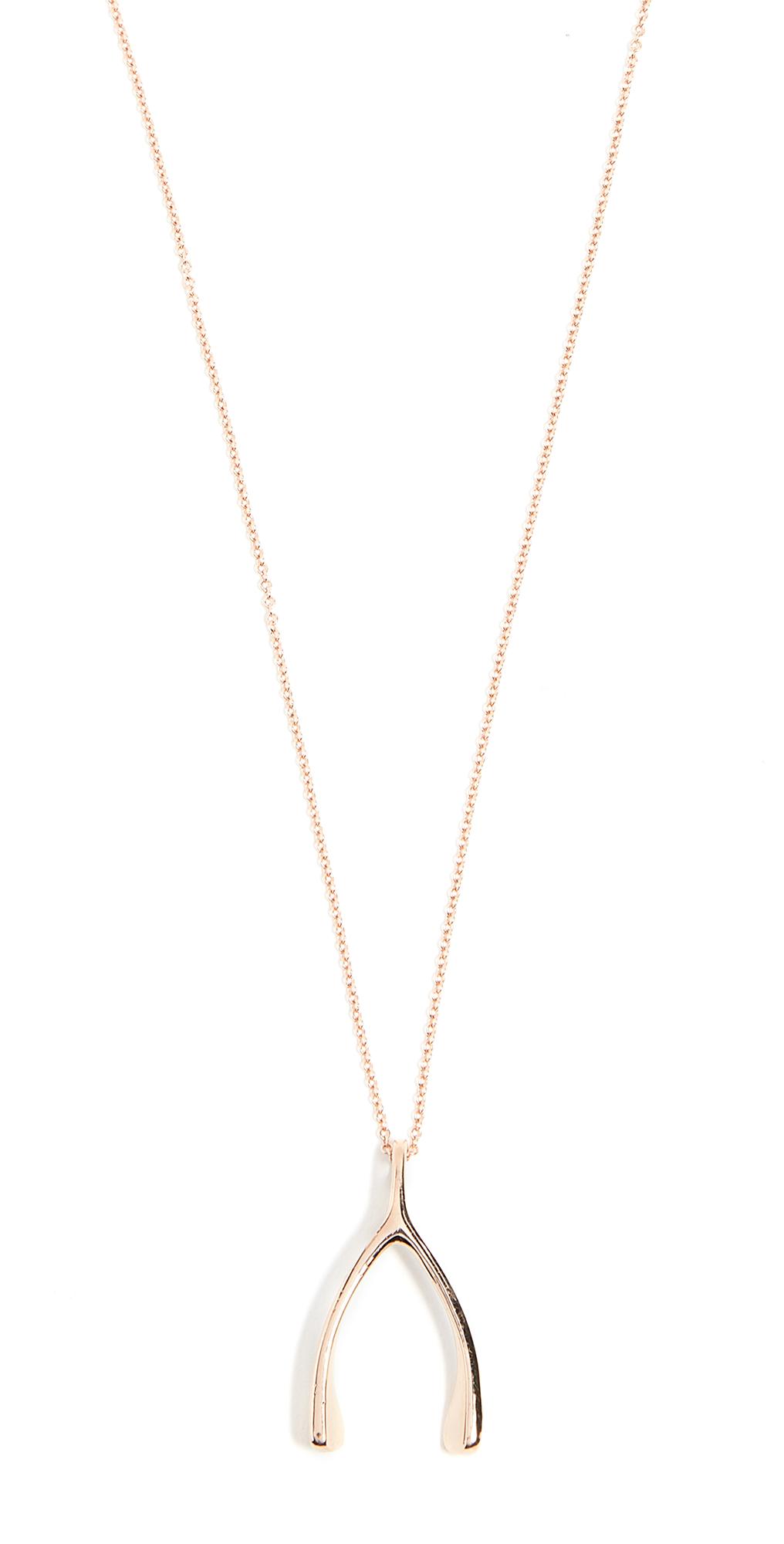 18k Rose Gold Wishbone Necklace
