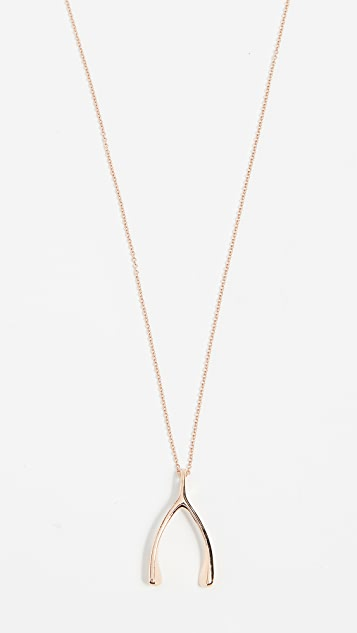 Jennifer Meyer Jewelry 18k Rose Gold Wishbone Necklace