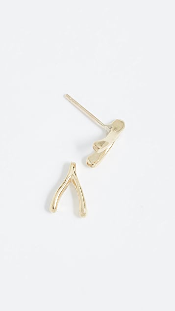 Jennifer Meyer Jewelry 18k Gold Wishbone Studs Earrings