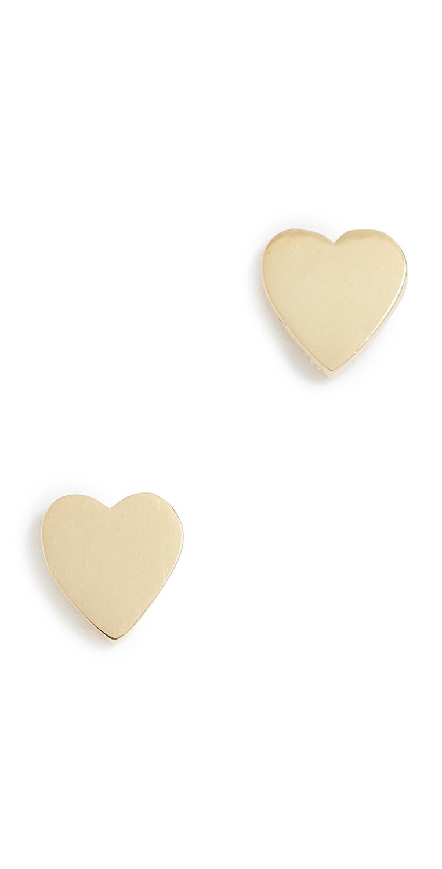 Jennifer Meyer Jewelry 18k Gold Heart Stud Earrings