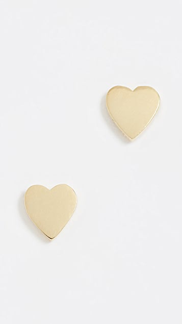 Jennifer Meyer Jewelry 18k Gold Heart Stud Earrings