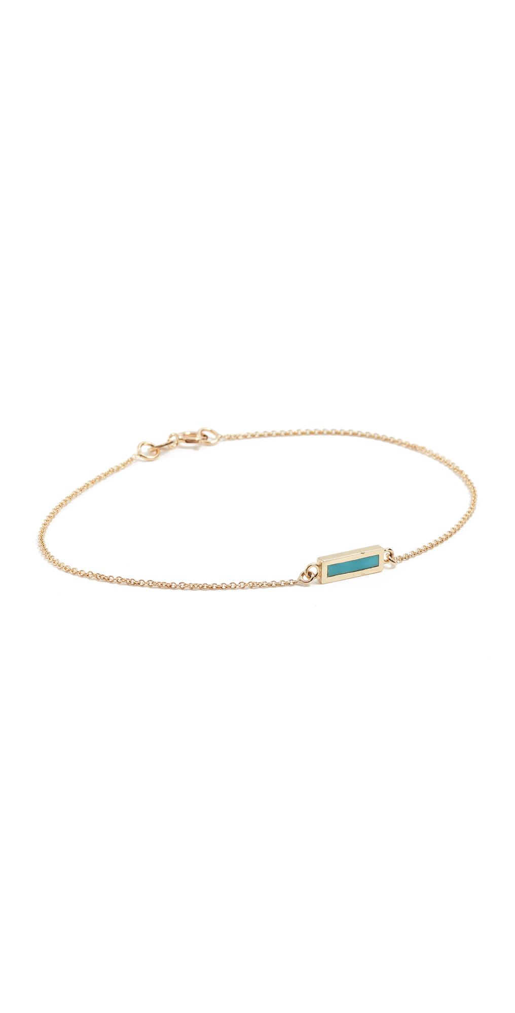 18k Gold Inlay Short Bar Bracelet
