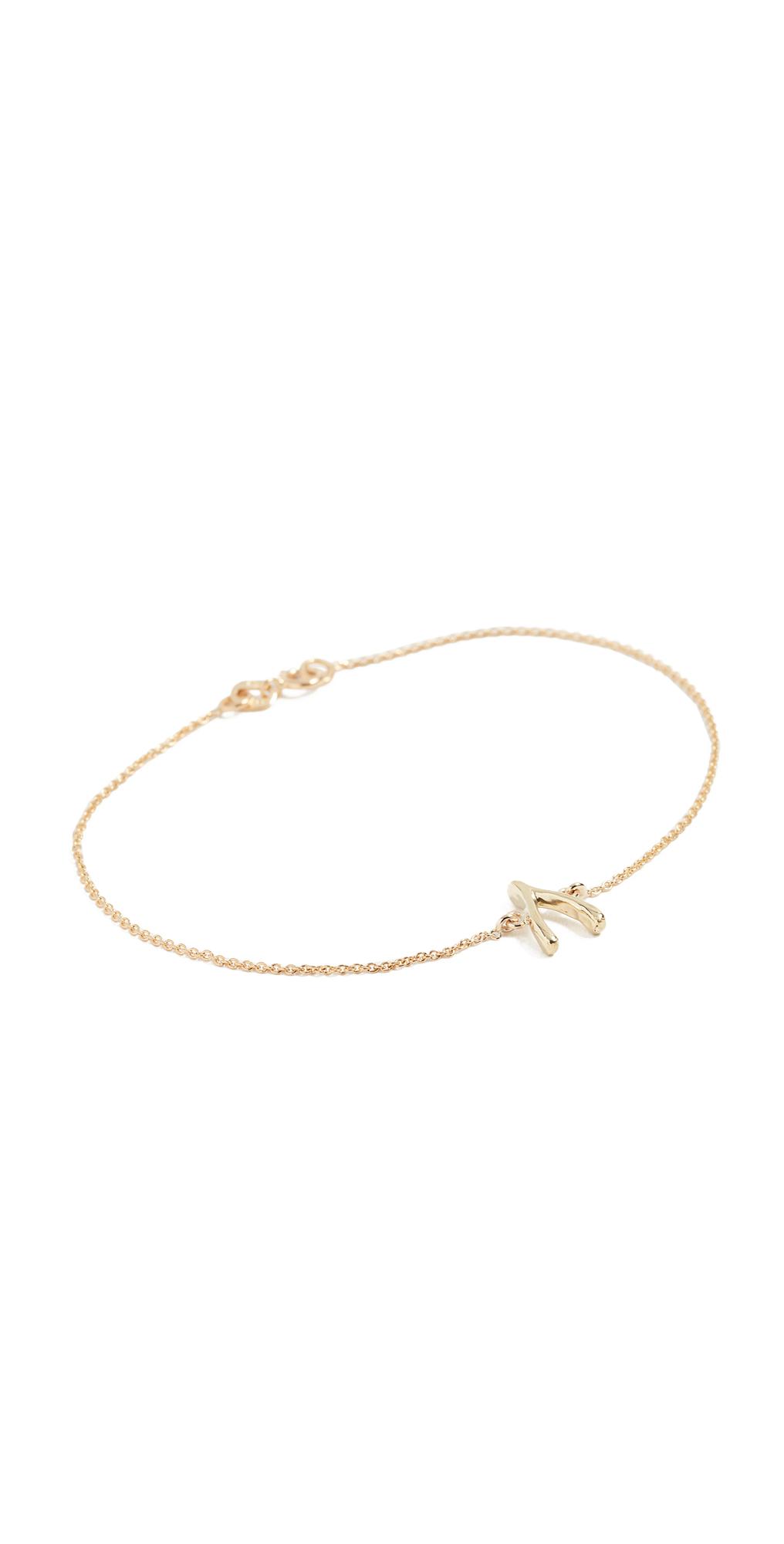 18k Gold Wishbone Bracelet