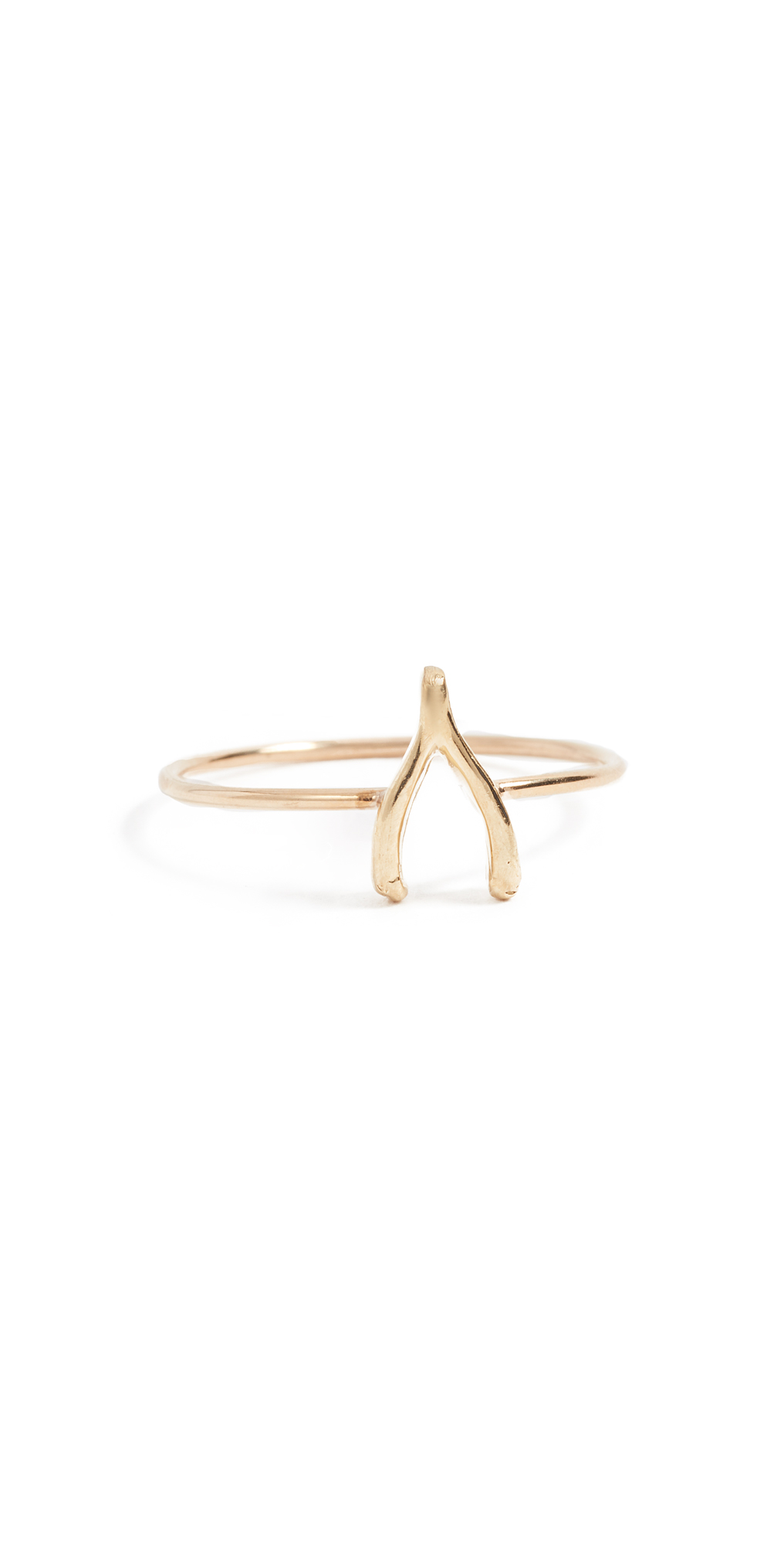 18k Gold Mini Wishbone Ring