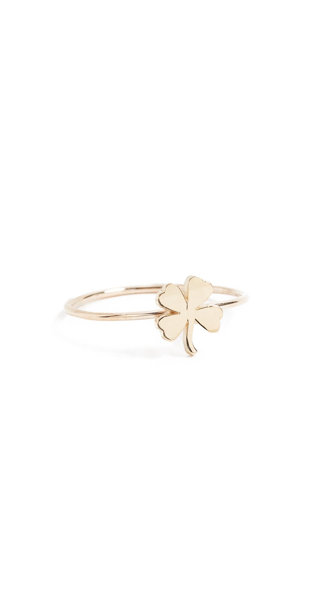18k Gold Mini Clover Ring