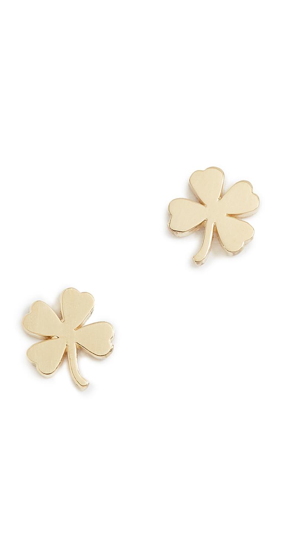 18k Gold Mini Clover Stud Earrings