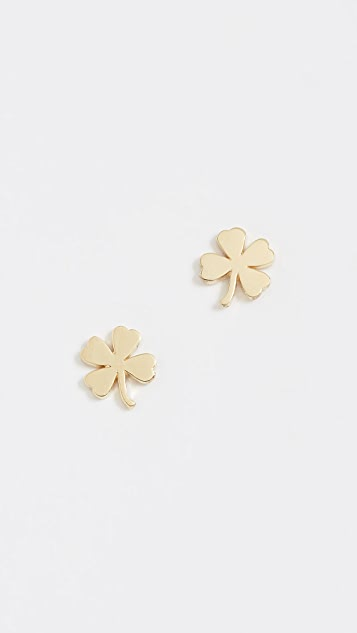 Jennifer Meyer Jewelry 18k Gold Mini Clover Stud Earrings