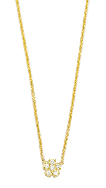 Jennifer Meyer Jewelry 18k Gold Diamond Single Flower Necklace