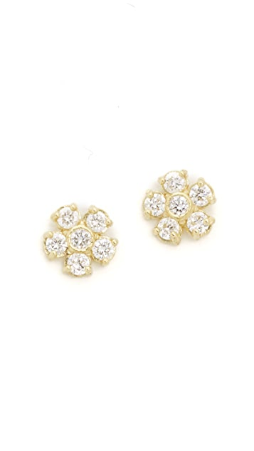 Jennifer Meyer Jewelry 18k Gold Diamond Flower Stud Earrings
