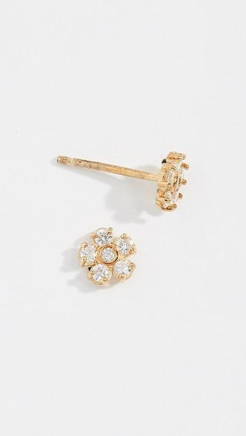 Jennifer Meyer Jewelry 18k Gold Diamond Flower Stud Earrings