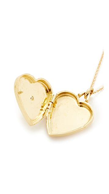 Jennifer Meyer Jewelry Heart Locket with Diamond Detail