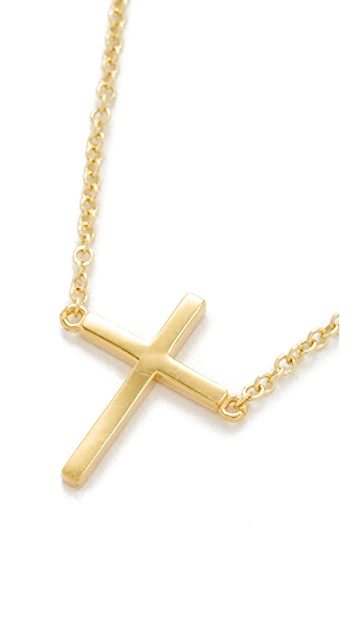 Jennifer Meyer Jewelry 18k Gold Thin Cross Necklace