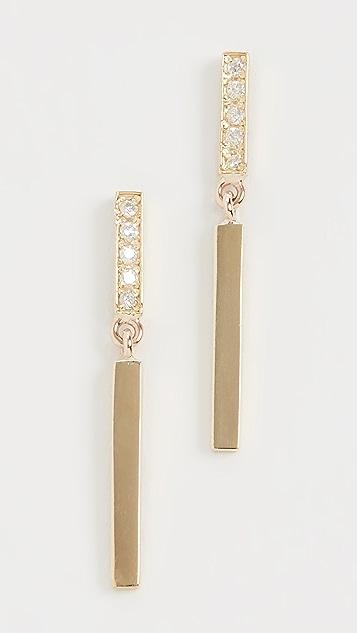 Jennifer Meyer Jewelry 18k Diamond Short and Long Bar Studs