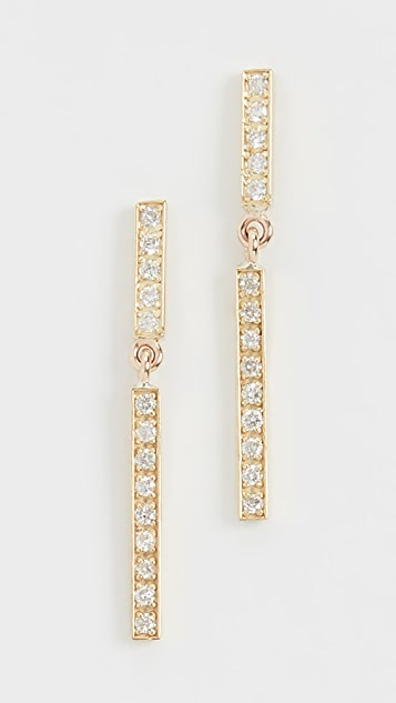 Jennifer Meyer Jewelry 18k 钻石短长条扣耳钉