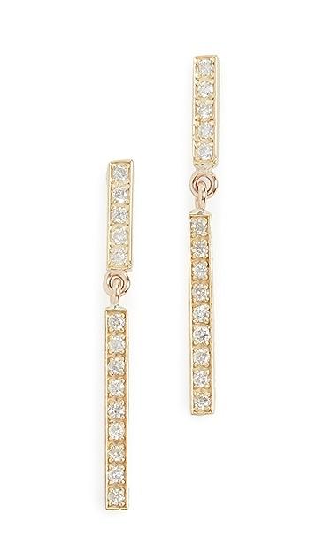 Jennifer Meyer Jewelry 18k Diamond Short and Diamond Long Bar Studs