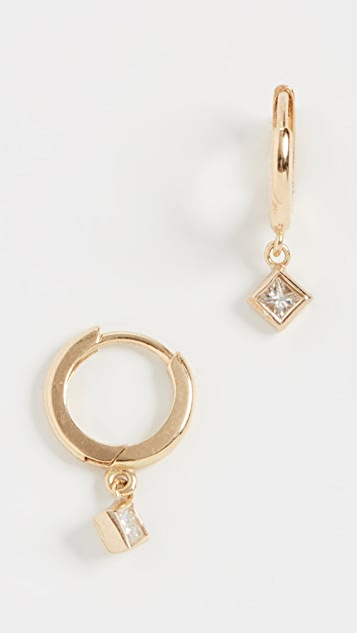 Jennifer Meyer Jewelry 18k Huggies with Princess Cut Diamond Drop