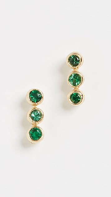 Jennifer Meyer Jewelry 18k Emerald 3 Mini Bezel Studs