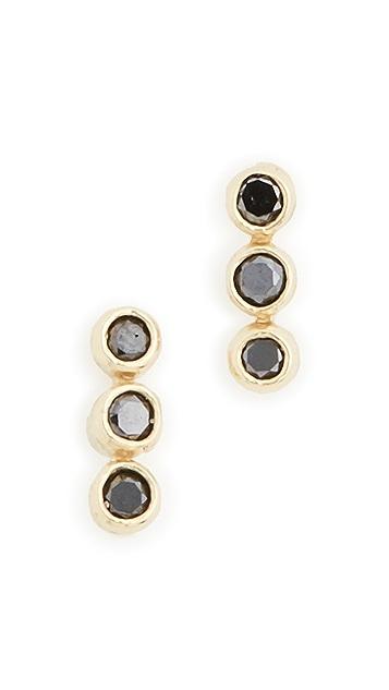 Jennifer Meyer Jewelry 18k Black Diamond 3 Mini Bezel Studs
