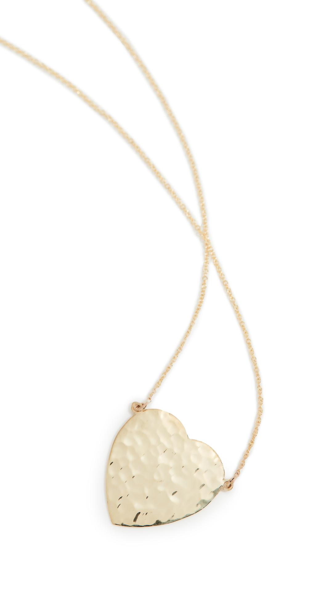 Jennifer Meyer Jewelry 18k Gold Hammered Heart Necklace