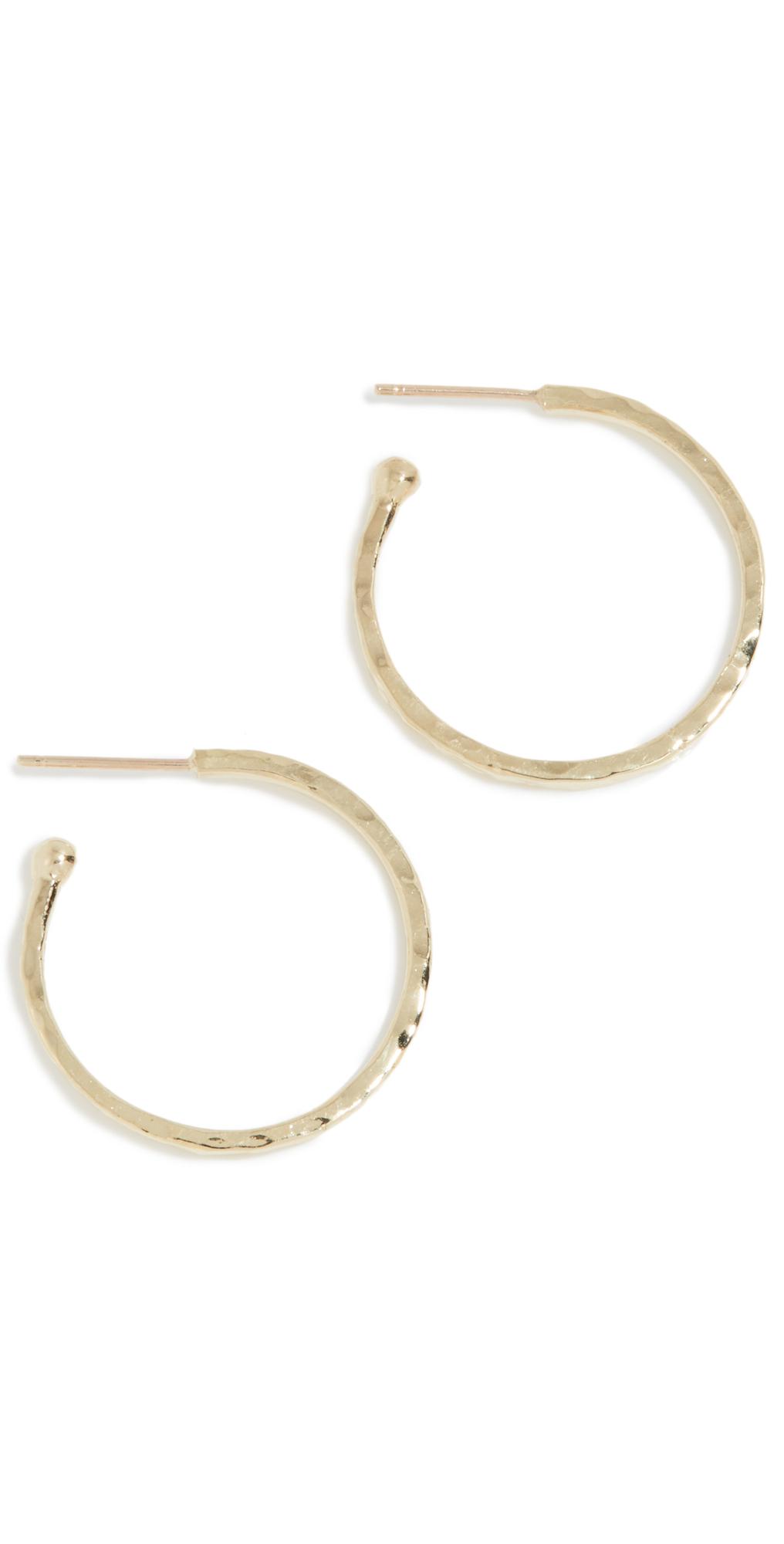 Jennifer Meyer Jewelry 18k Gold Small Hammered Bangle Hoops