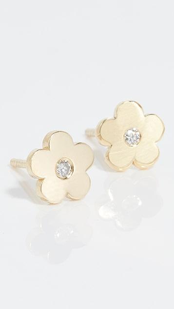 Jennifer Meyer Jewelry Mini Daisy Diamond Center Earrings