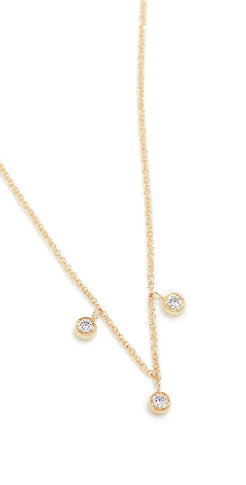 3 Mini Diamond Bezel Dangle Necklace