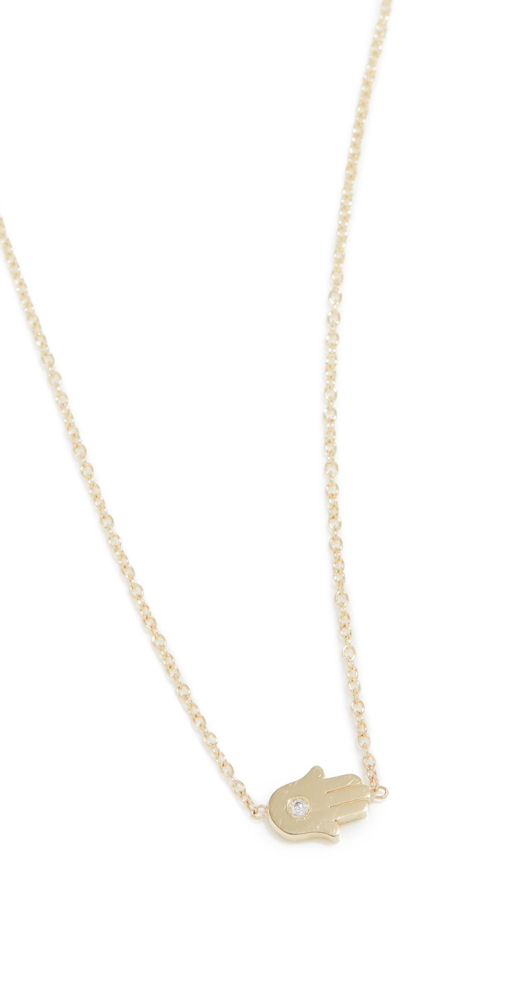 Mini Hamsa Necklace With Diamond Accent